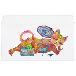 """Конверт маленький """"Евро"""" Е65 """"Пляжный релакс."""" - лето, summer, cat, пляж, авторский рисунок, яркий рисунок, красивый конверт, яркий конверт, яркий кот, красивый котик"""