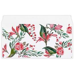"""Конверт маленький """"Евро"""" Е65 """"Цветы на белом"""" - цветы, роза, листья, природа, пион"""