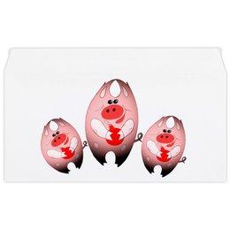 """Конверт маленький """"Евро"""" Е65 """"Свинни Хрю с елочной игрушкой"""" - праздник, арт, новый год, поросенок, свин"""