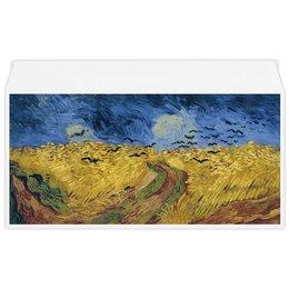 """Конверт маленький """"Евро"""" Е65 """"Пшеничное поле с воронами (Ван Гог)"""" - картина, природа, ван гог, живопись, постимпрессионизм"""