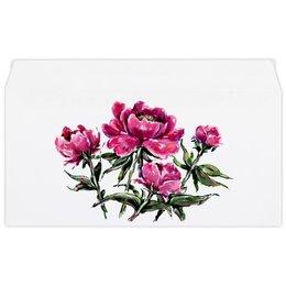 """Конверт маленький """"Евро"""" Е65 """"Пионы"""" - цветы, весна, подарок, тёмный, пион"""