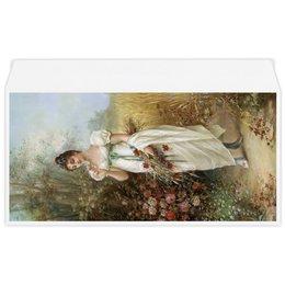 """Конверт маленький """"Евро"""" Е65 """"Девушка с луговыми цветами и розами (Ханс Зацка)"""" - цветы, картина, живопись, зацка"""