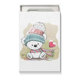 "Коробка для чехлов ""Медвежонок"" - юмор, зима, рисунок, мультяшка, медвежонок"