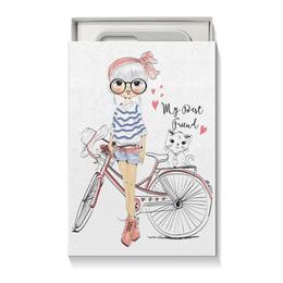 """Коробка для чехлов """"Девушка и котёнок"""" - девушка, велосипед, котёнок, друг"""