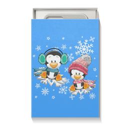 """Коробка для чехлов """"Пингвин зимой"""" - новый год, зима, пингвин, снежинки"""
