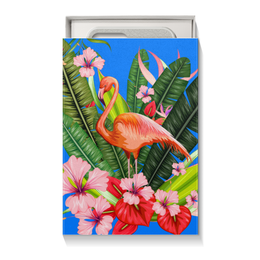 "Подарочная коробка малая (пенал) ""Фламинго"" - фламинго, птица, цветы"
