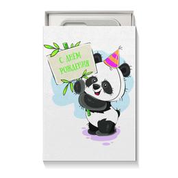 """Коробка для чехлов """"С днём рождения!"""" - панда, день рождения, медвежонок, праздничный, поздравительный"""