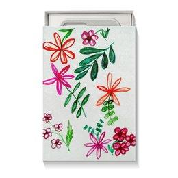 """Коробка для чехлов """"Цветы на белом"""" - цветы, листья, счастье, яркие, красные цветы"""