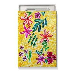 """Коробка для чехлов """"Цветы на желтом"""" - лето, цветы, листья, счастье, красные цветы"""