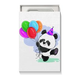 """Подарочная коробка малая (пенал) """"Панда поздравляет!"""" - панда, шарики, день рождения, медвежонок, праздничный"""