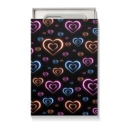 """Коробка для чехлов """"Неоновые сердца, с выбором цвета фона."""" - сердце, узор, сердца, сердечки, неон"""