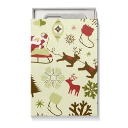 """Подарочная коробка малая (пенал) """"Новогодняя"""" - новый год, санта клаус, ёлка, снеговик"""