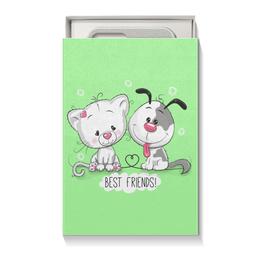 """Подарочная коробка малая (пенал) """"Друзья"""" - мультяшки, друзья, рисунок, щенок, котёнок"""