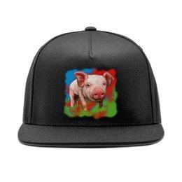 """Кепка снепбек с прямым козырьком """"Симпатичный свин"""" - свинка, свинья, хрюшка, поросёнок, хряк"""