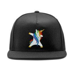 """Кепка снепбек с прямым козырьком """"Dab Unicorn """" - животные, unicorn, единорог, дэб, dab"""