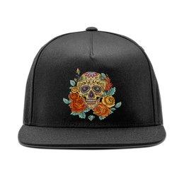 """Кепка снепбек с прямым козырьком """"Череп"""" - череп, цветы, skull"""