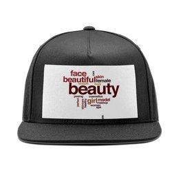 """Кепка снепбек с прямым козырьком """"Beauty. """" - мужская, женская, надписи, слова, головной убор"""