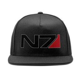 """Кепка снепбек с прямым козырьком """"Mass Effect - N7"""" - игры, mass effect, n7, масс эффект"""
