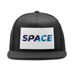 """Кепка снепбек с прямым козырьком """"Space. """" - мужская, чёрная, надписи, унисекс, головной убор"""