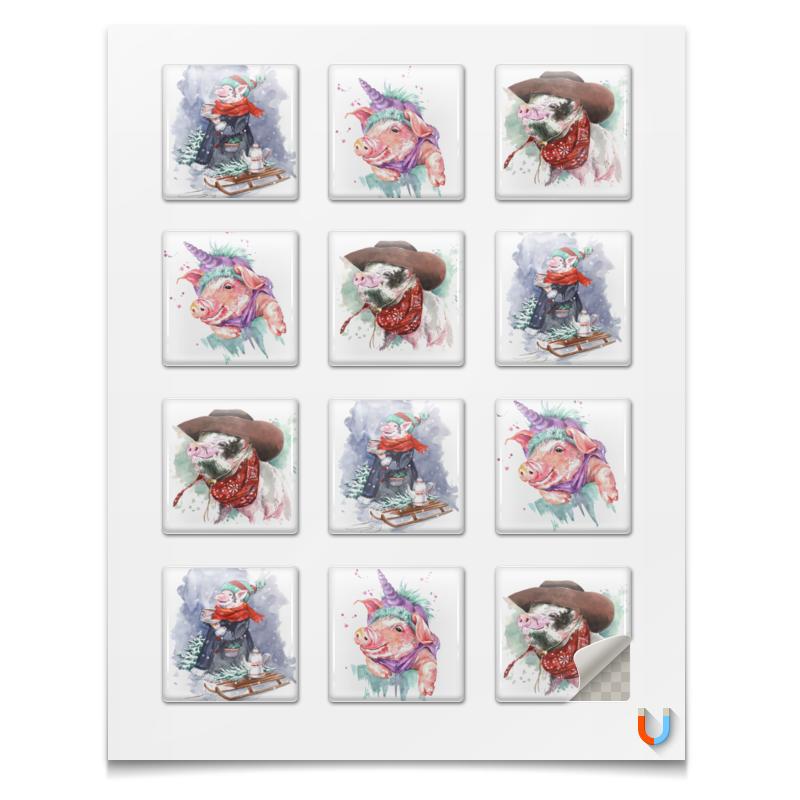 Магниты квадратные Printio Новогодние свинки для подарков ирина вязова новогодние игрушки