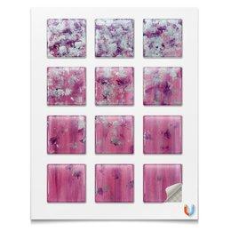 """Магниты квадратные 5x5см """"Розовое настроение"""" - любовь, розовый, нежность, серебро, женское"""