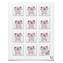 """Магниты квадратные """"Розовый поросёнок с бенгальскими огнями"""" - арт, счастье, свин, розовый поросенок, бенгальский огонь"""