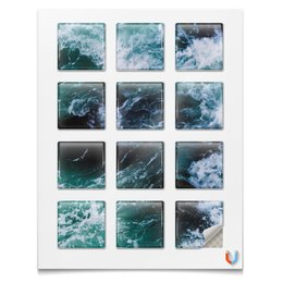 """Магниты квадратные 5x5см """"Бескрайнее море"""" - лето, море, океан, spray, бескрайний океан"""