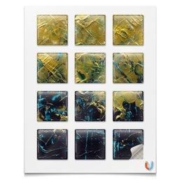 """Магниты квадратные 5x5см """"Abstract"""" - картина, разводы, абстракция, живопись, флюид"""