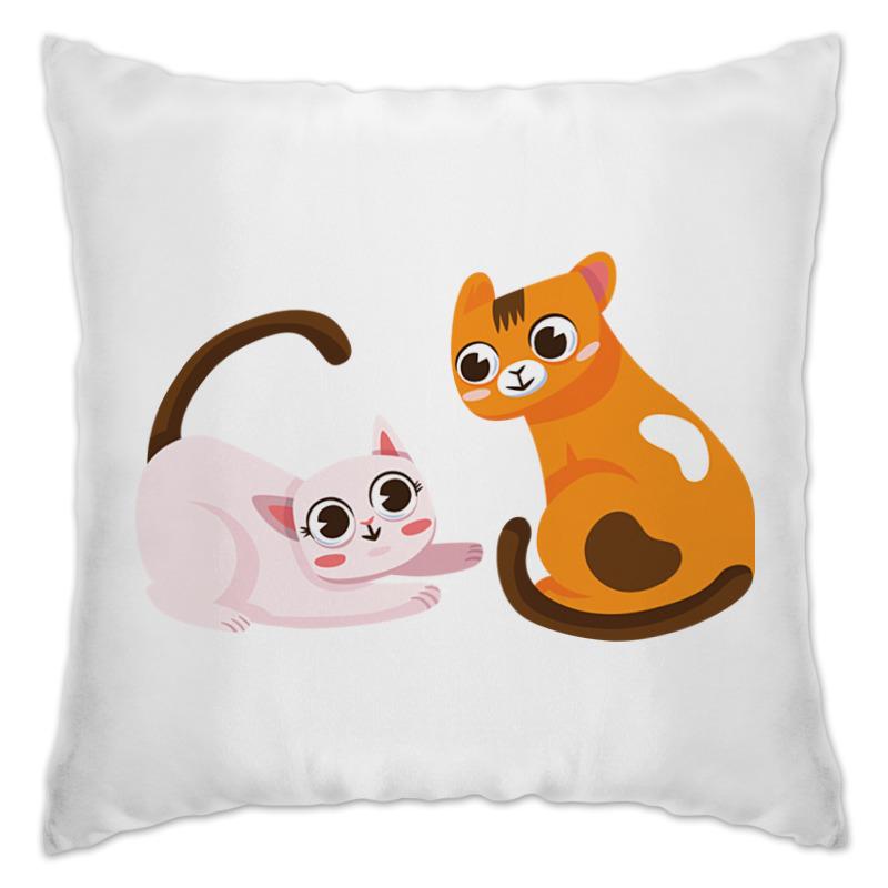 Подушка Printio Кот и кошка декоративные подушки оранжевый кот подушка интерьерная упаковка