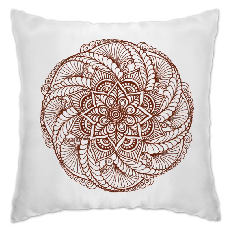 Подушка Printio Цветок в стиле росписи хной цена