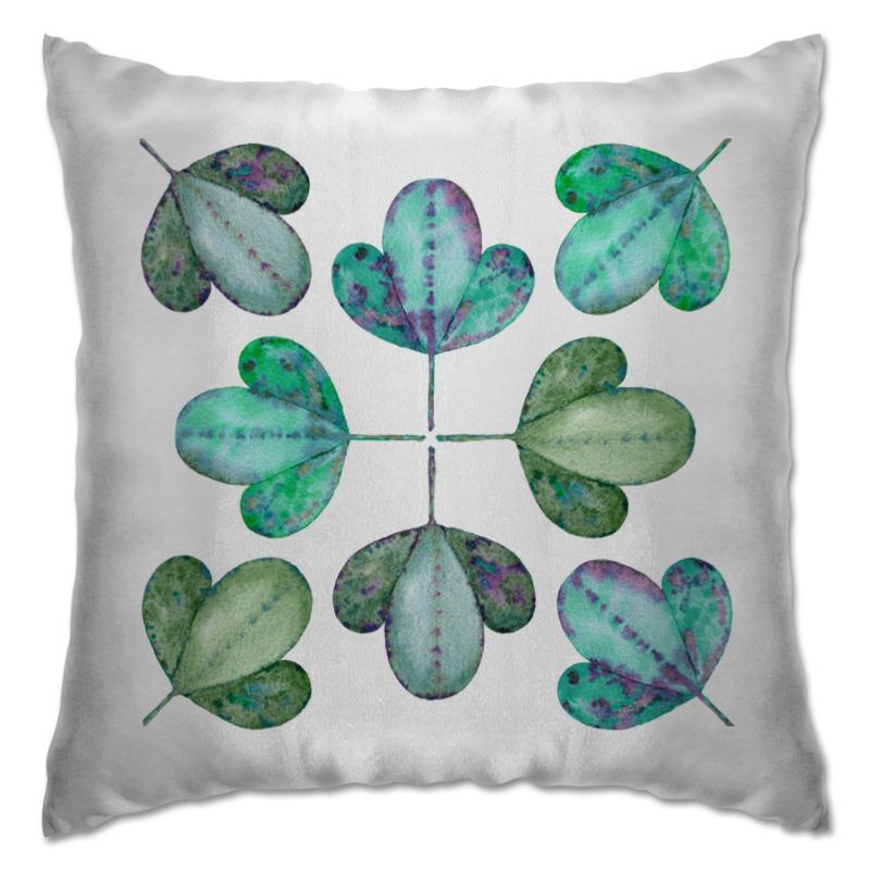 Подушка Printio Яркие листья. мятный бриз. декоративные подушки оранжевый кот подушка интерьерная упаковка