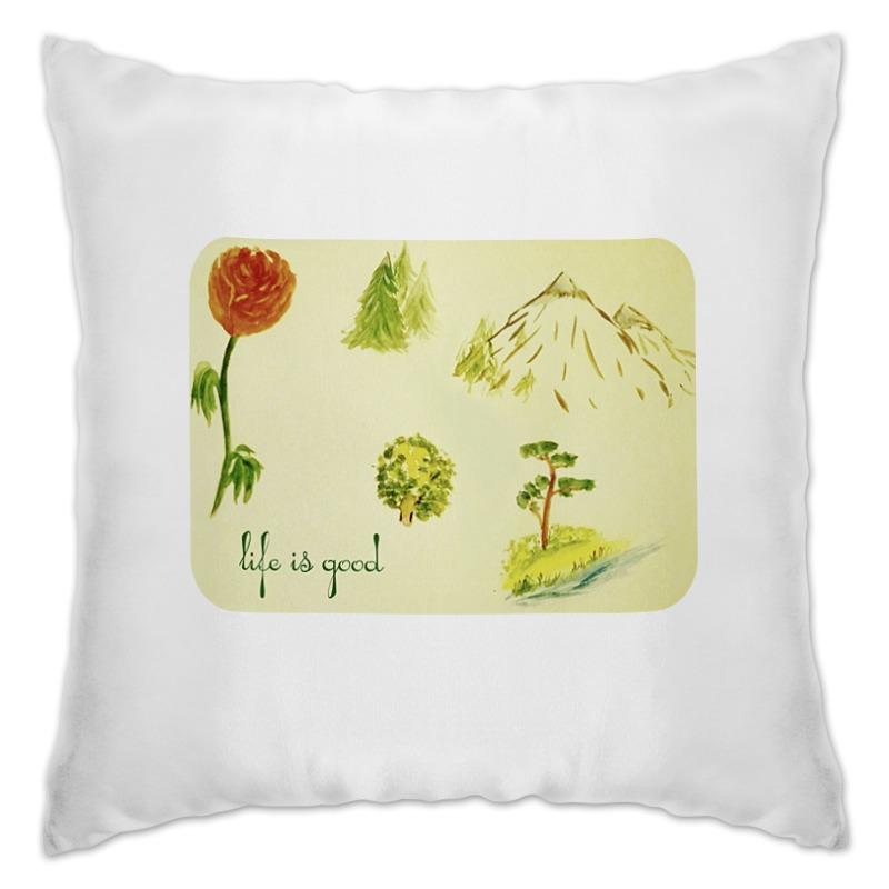 Подушка Printio Горы, сосны и цветы шишку сосны