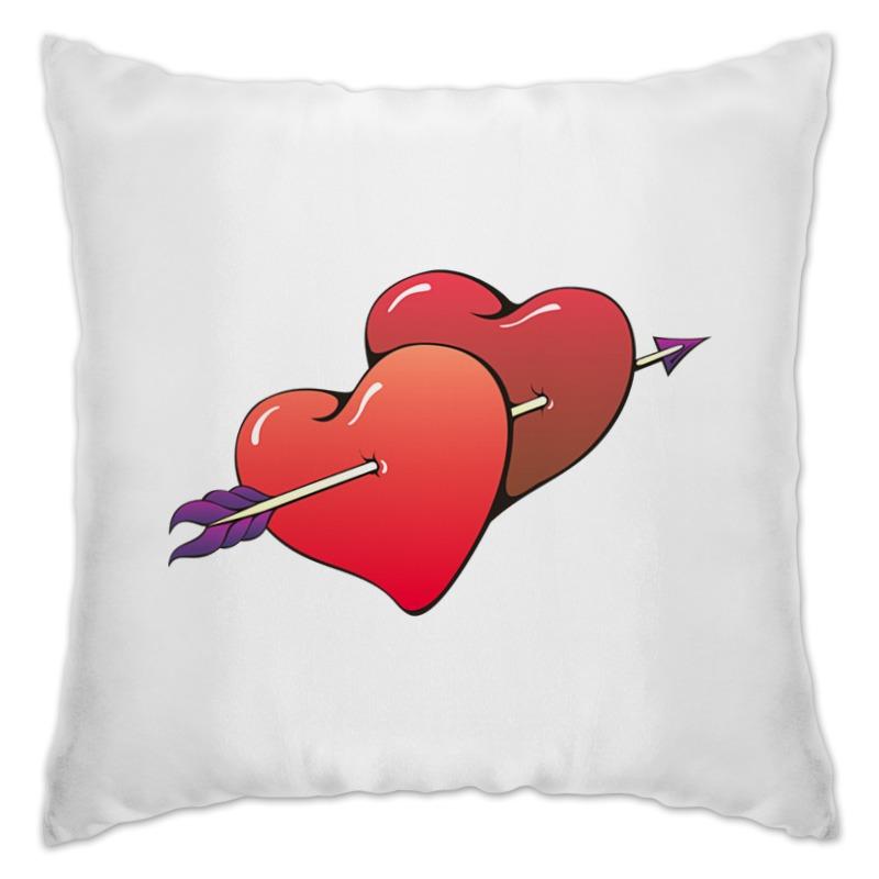 Подушка Printio Сердца пронзенные стрелой миниатюра два сердца пронзенные стрелой цвет серебристый 6 5 см