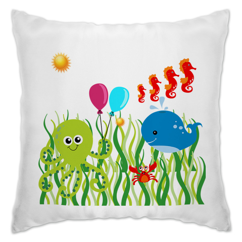 """Подушка Printio Веселое море. подушка """"море"""" морские водоросли перкаль 50 70"""