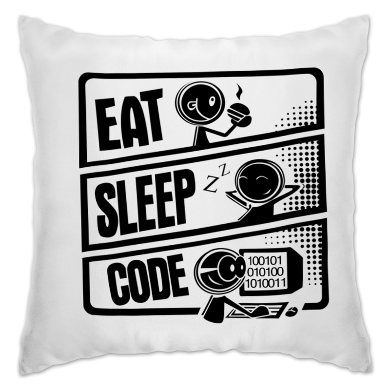 Подушка Printio Eat, sleep, code