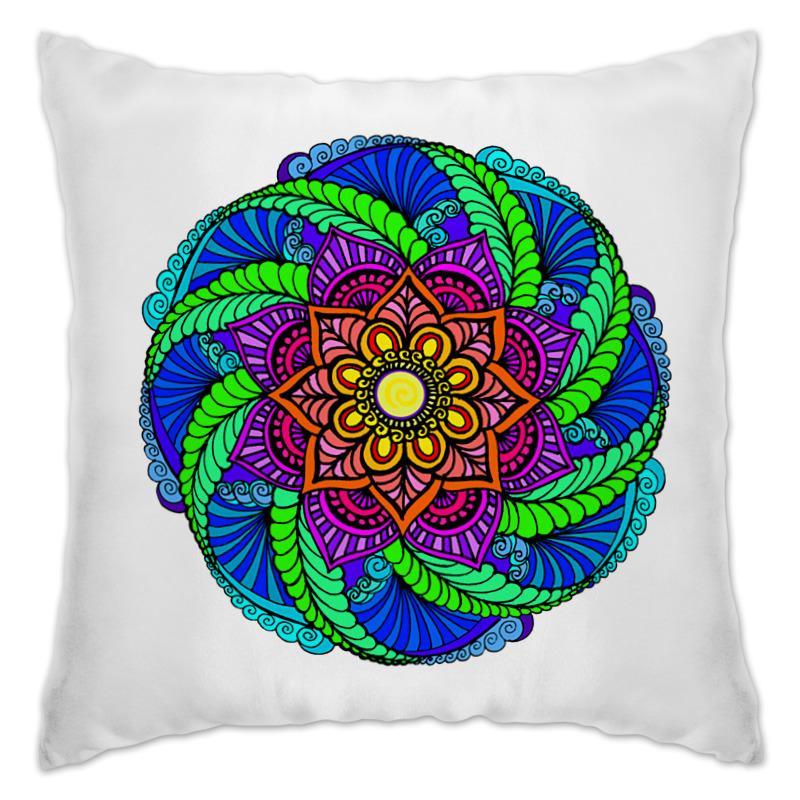 Подушка Printio Яркий цветок в этническом стиле цена