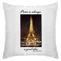 "Подушка ""Париж"" - шоколад, париж, одри хепберн, paris, эйфелева башня"