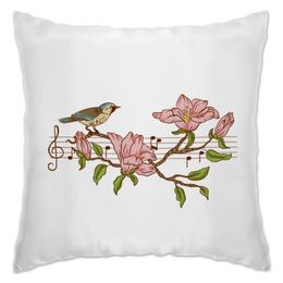 """Подушка """"мелодия весны"""" - цветы, весна, птицы, ноты, веточка"""