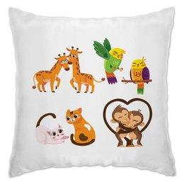 "Подушка ""Любовь"" - день святого валентина, птица, котик, обезьянка, жираф"