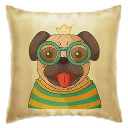 """Подушка """"Мопс-Учёный"""" - мопс, собака, корона, учёный, наука"""