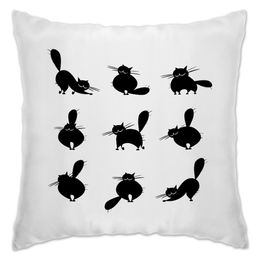 "Подушка ""Кошки 2"" - рисунок, кошки, графика, чёрный кот"