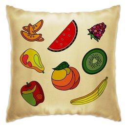 """Подушка """"Фрукты"""" - фрукты, ягоды, яркие, витраж, тропические"""