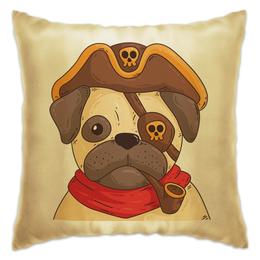 """Подушка """"Мопс-пират"""" - рисунок, пират, мопс, флинт, пиратский"""