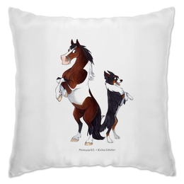 """Подушка """"Пегий пони/ Трехцветный бордер-колли"""" - собака, пони, лошади, бордер-колли, пегий"""