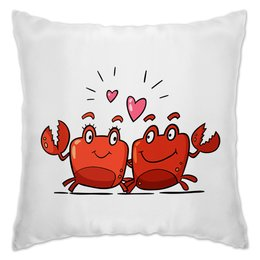 """Подушка """"Влюблённые  крабики"""" - любовь, сердца, день святого валентина, пара, краб"""