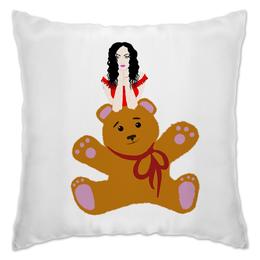 "Подушка ""Девушка и игрушка "" - девушка, мягкая игрушка, подарок, медведь, плюшевый мишка"