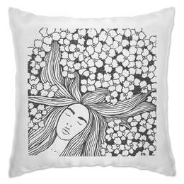"Подушка ""ВО СНЕ"" - цветы, узор, чб, dream, во сне"
