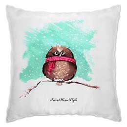 """Подушка """"owl"""" - зима, снег, сова, шарф, owl"""