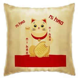 """Подушка """"Манеки неко"""" - кот, деньги, китайский, талисман, фэншуй"""