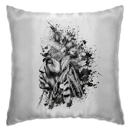 """Подушка """"индеец"""" - прикольно, арт, стиль, популярные, рисунок, в подарок, оригинально, индеец, креативно, выделись из толпы"""